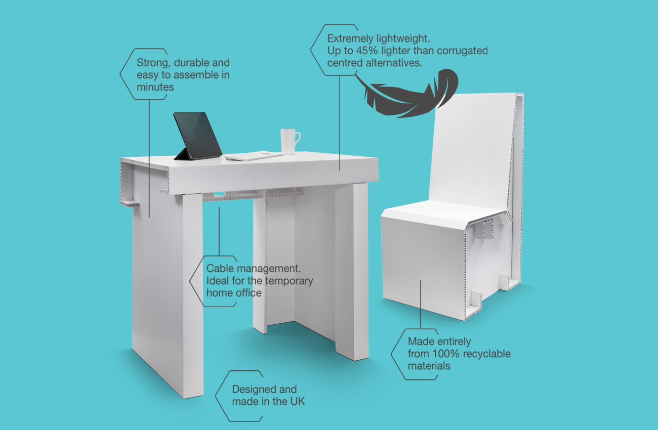 Pop up desk and chair for home schooling and office work