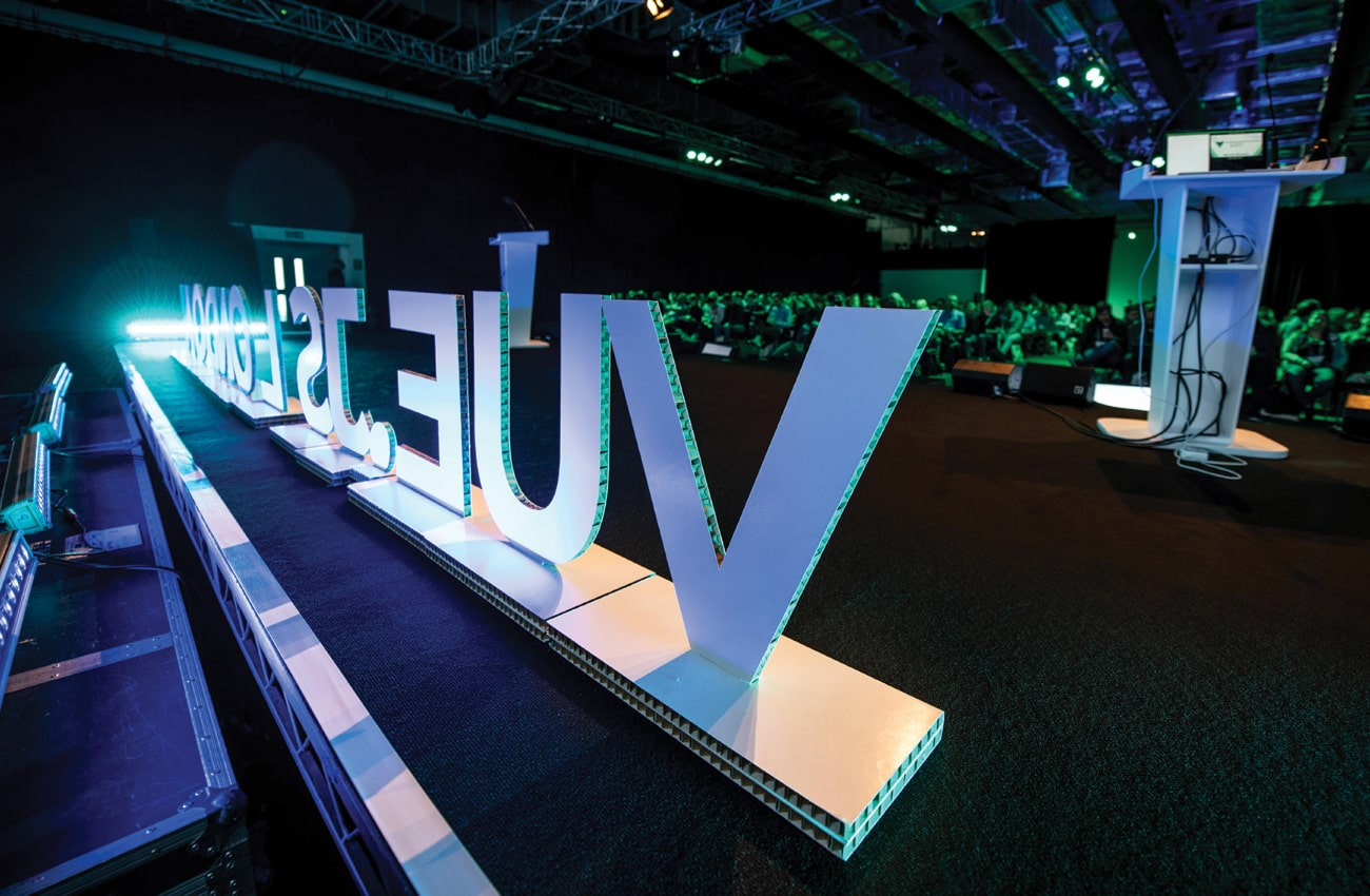 Dufaylite Ultra Board large 3D lettering for Vue.JS London event graphics